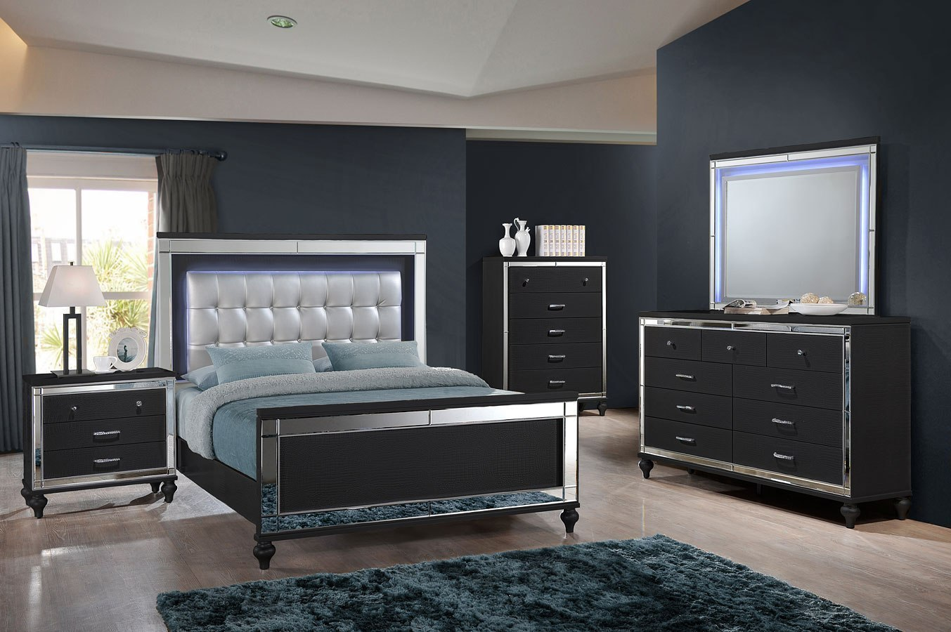Valentino Panel Bedroom Set Black By New Classic Furniture Furniturepick