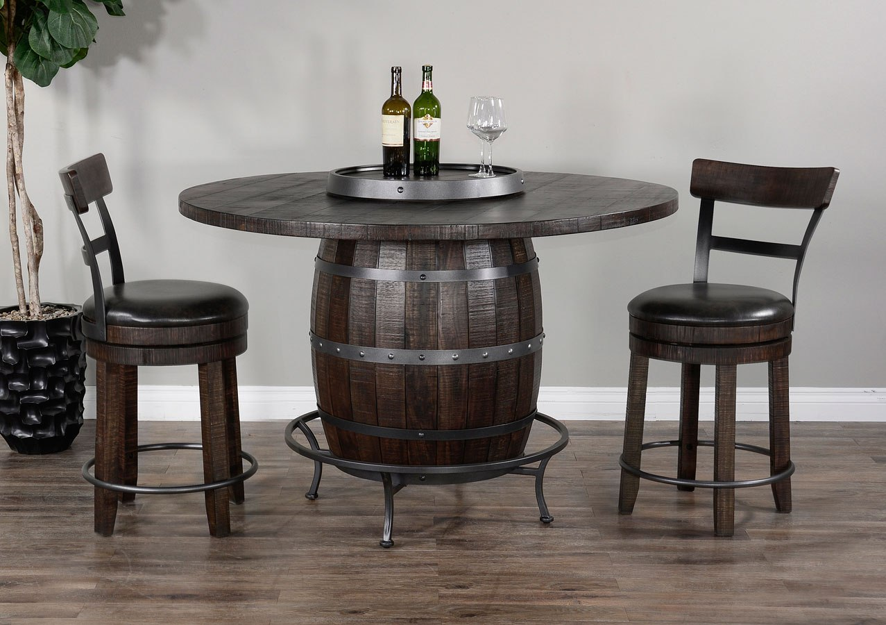 Picture of: Homestead Round Wine Barrel Base Pub Table Set By Sunny Designs Furniturepick