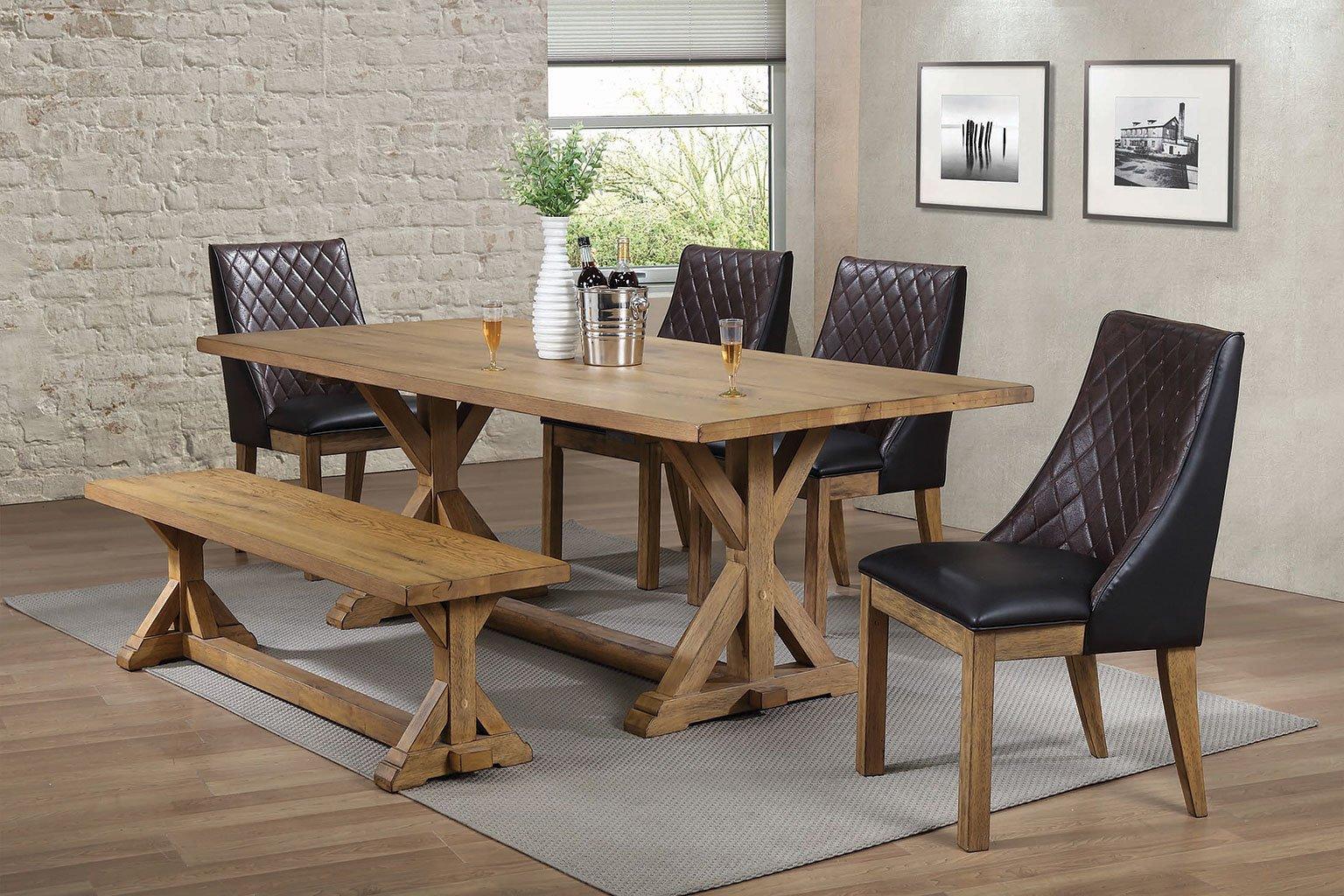 Douglas Dining Room Set W Dark Brown Chairs By Coaster Furniture Furniturepick
