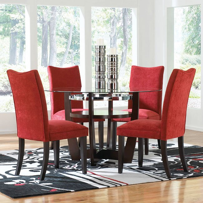 Apollo Dining Room Set W Red Chairs Standard Furniture Furniturepick