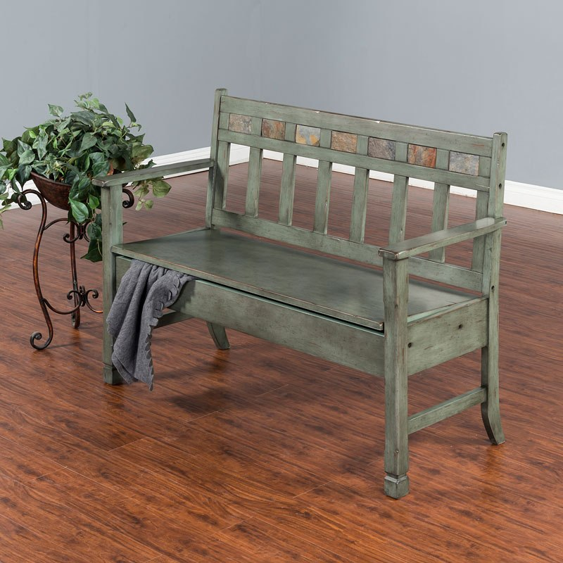 Green Storage Bench By Sunny Designs Furniturepick