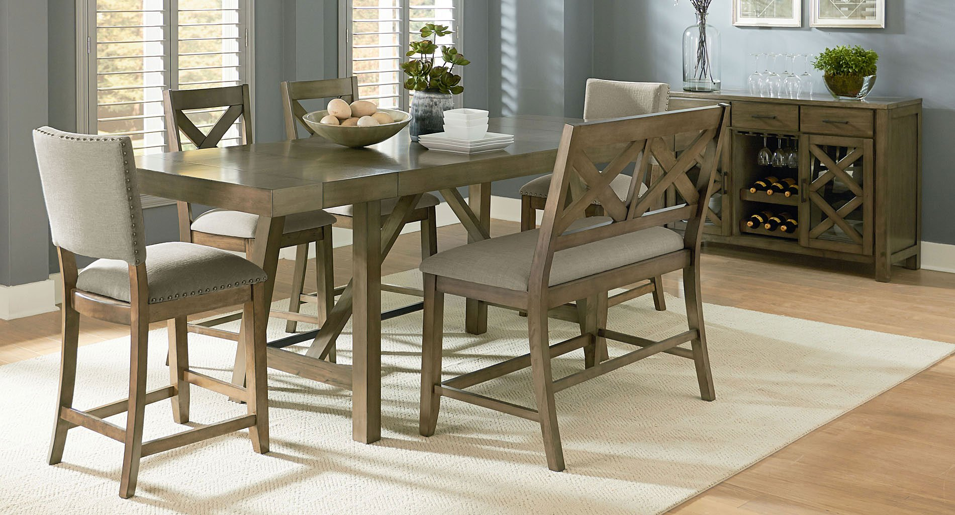 omaha counter height dining set w xback bench grey