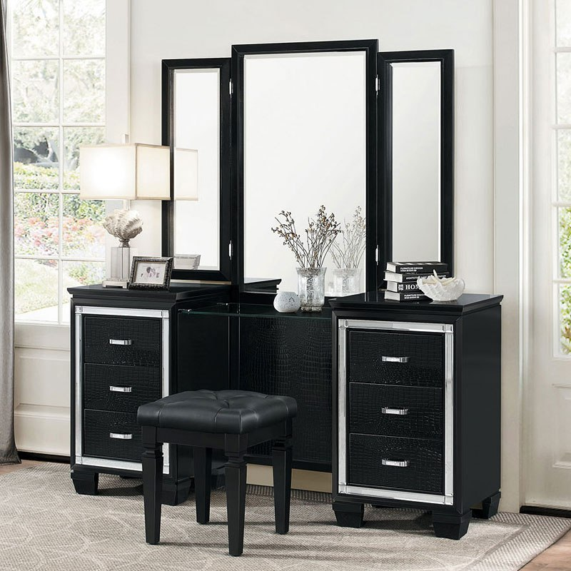 Allura Vanity Dresser W Mirror Black By Homelegance Furniturepick