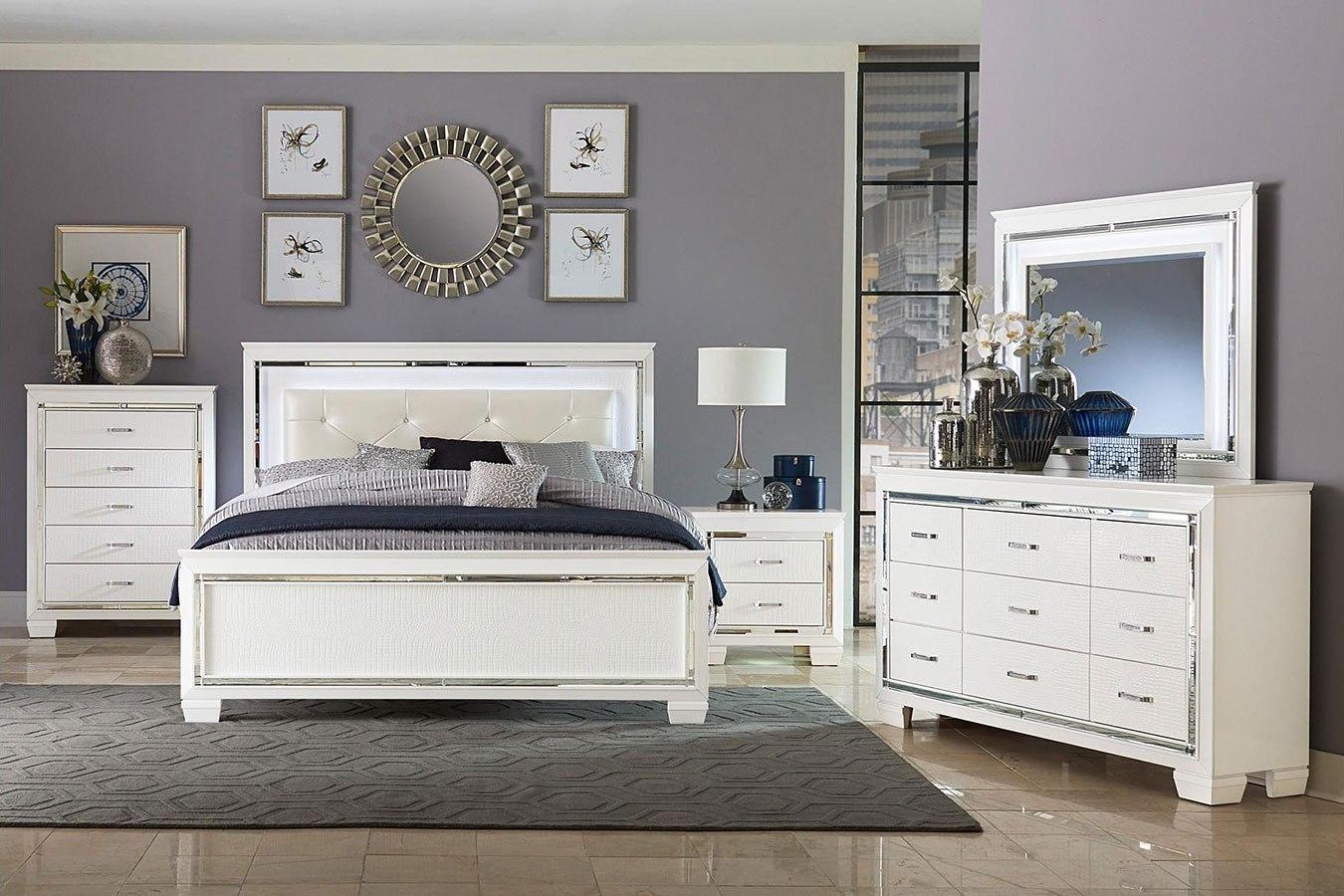 Allura Panel Bedroom Set W Led Lighting White By Homelegance Furniturepick