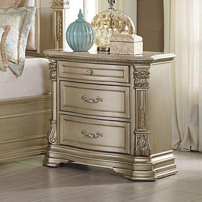 Antoinetta Nightstand W Marble Top Champagne By Homelegance Furniturepick