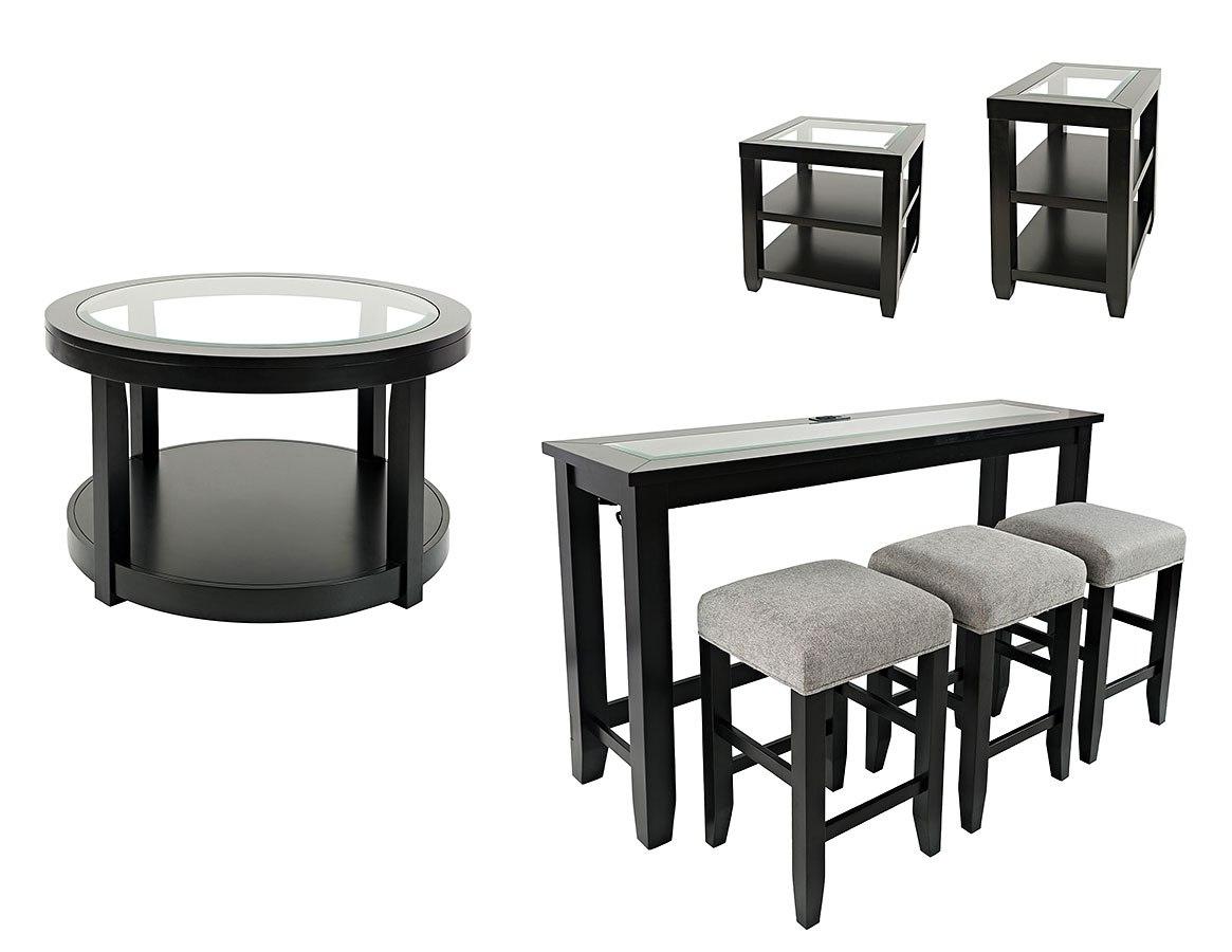 Urban Icon Round Occasional Table Set Black By Jofran Furniture Furniturepick