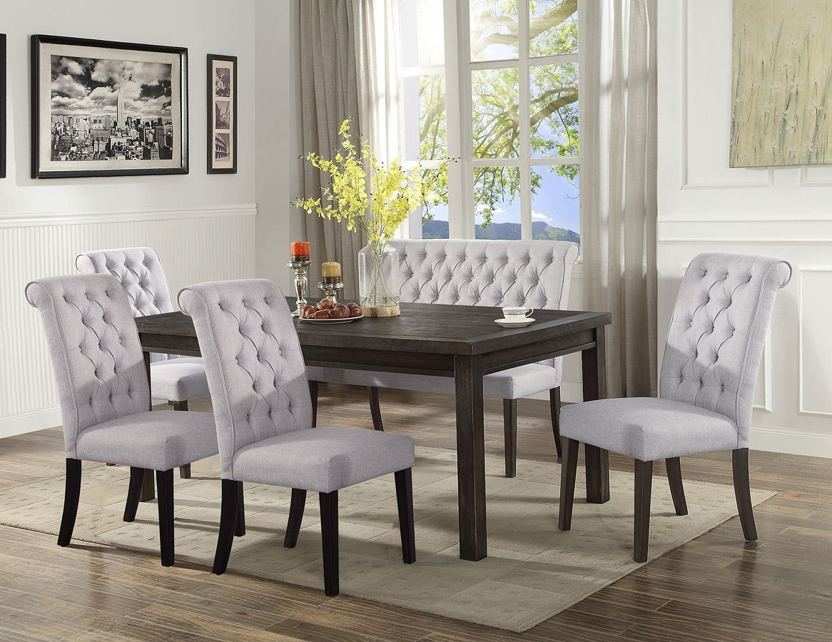 Palmer Dining Room Set W High Back Bench By Crown Mark Furniture Furniturepick