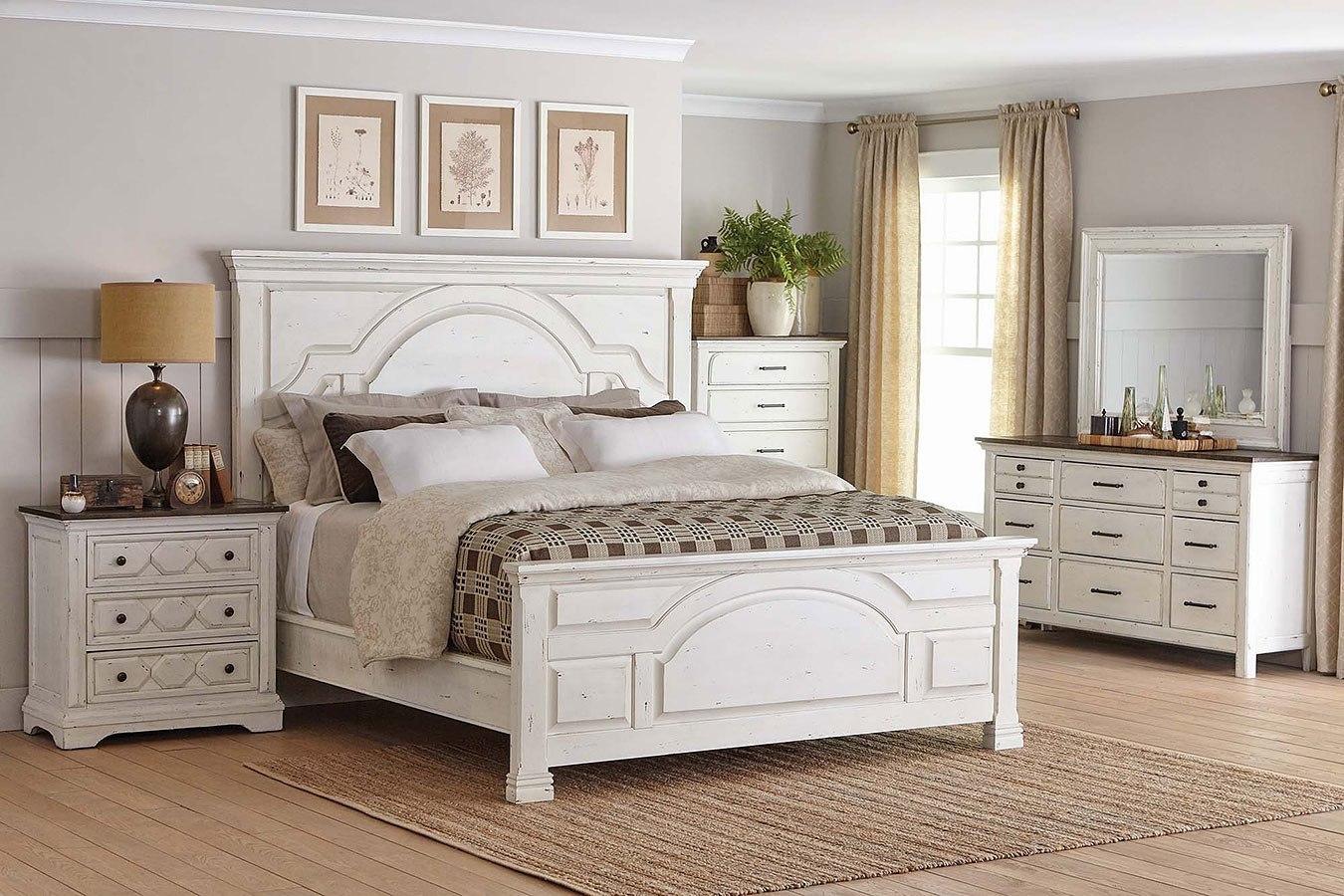 Celeste Panel Bedroom Set Vintage White By Coaster Furniture Furniturepick