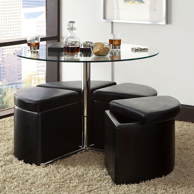 Cosmo Glass Cocktail Table W 4 Ottomans Standard Furniture Furniturepick