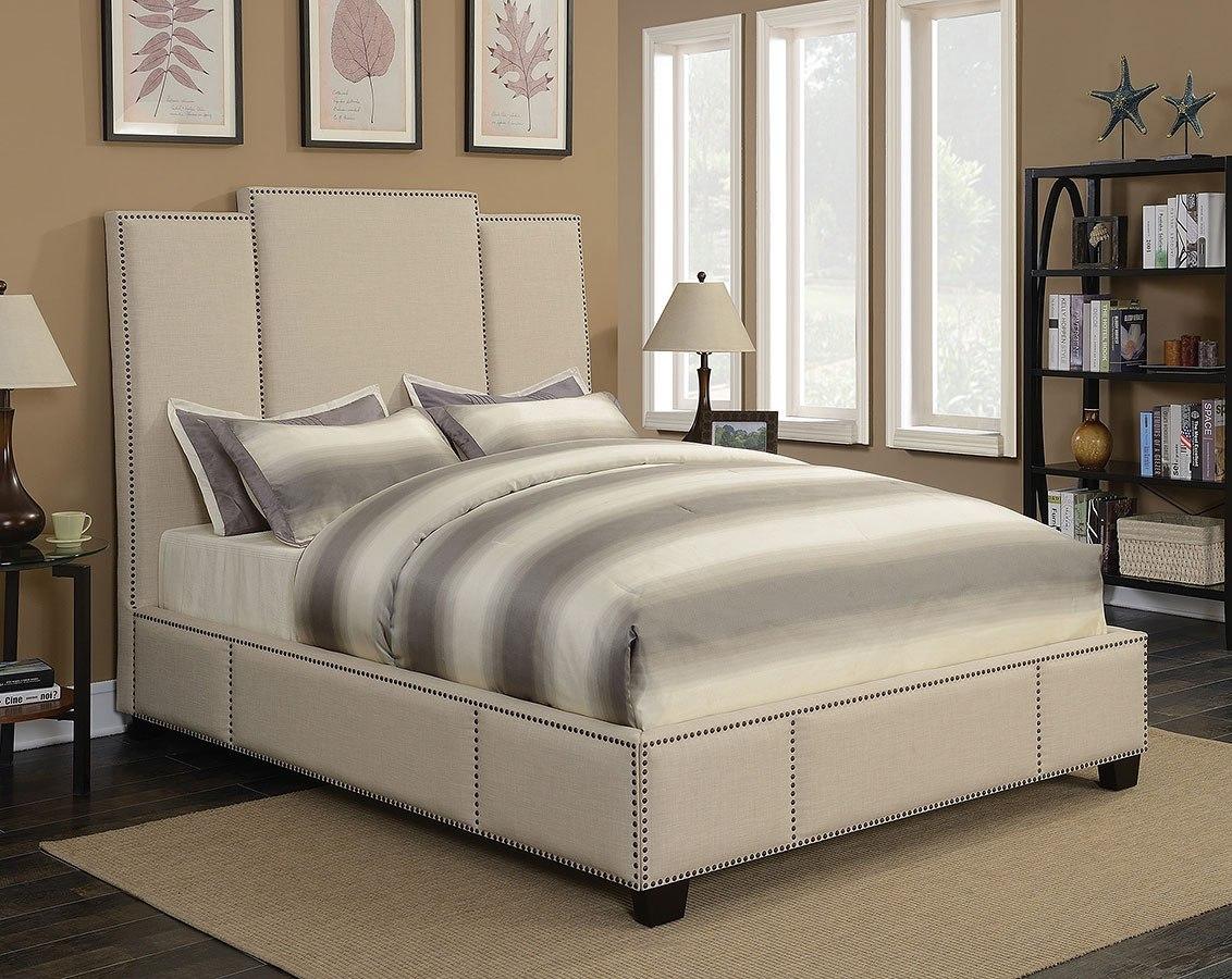 Lawndale Beige Upholstered Bed By Coaster Furniture Furniturepick