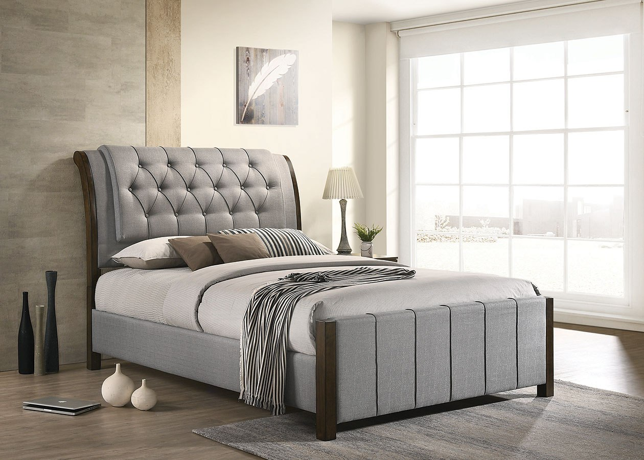 Lohrville Grey Upholstered Bed By Coaster Furniture Furniturepick