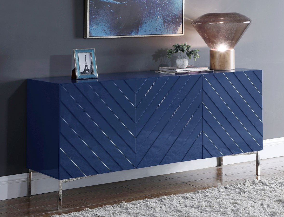Picture of: Collette Sideboard Buffet Navy Chrome By Meridian Furniture Furniturepick