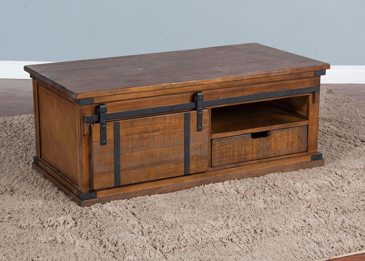 Dark Chocolate Barn Door Coffee Table By Sunny Designs Furniturepick