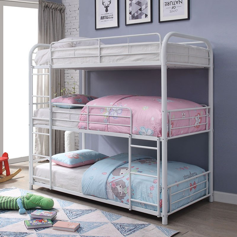 Cairo Triple Bunk Bed White By Acme Furniture Furniturepick