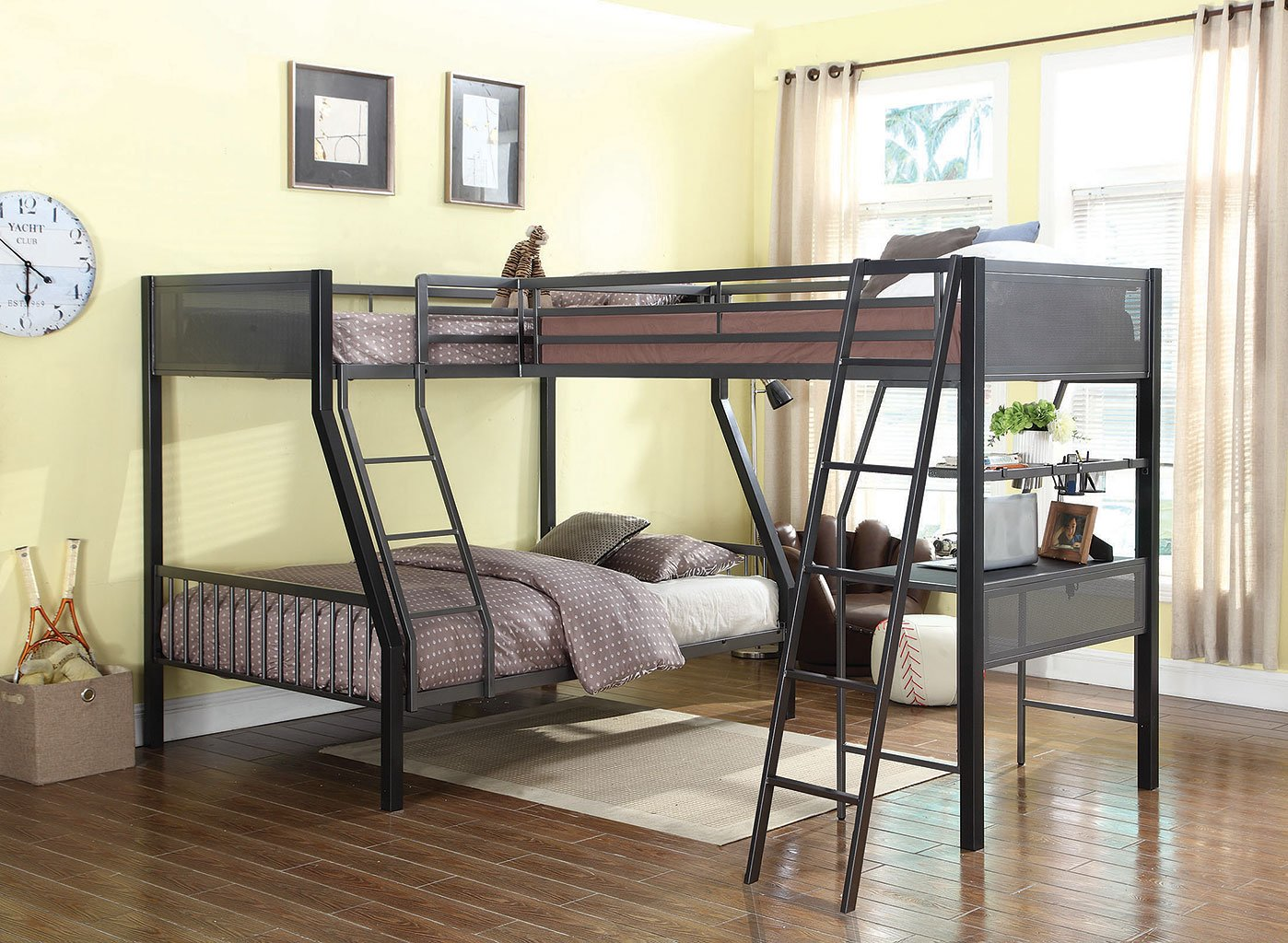 Meyers Twin Over Full Bunk Bed W Loft Add On By Coaster Furniture Furniturepick