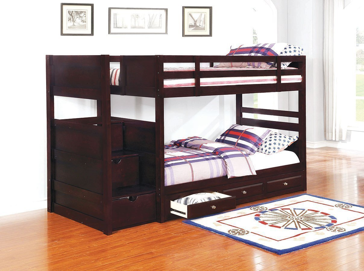 Picture of: Elliott Twin Over Twin Bunk Bed W Under Bed Storage By Coaster Furniture Furniturepick