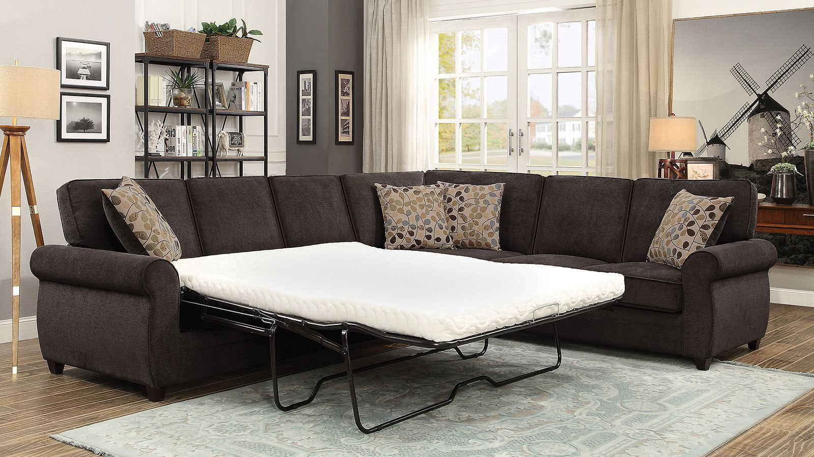 Picture of: Kendrick Chocolate Sectional W Pull Out Sleeper By Coaster Furniture Furniturepick