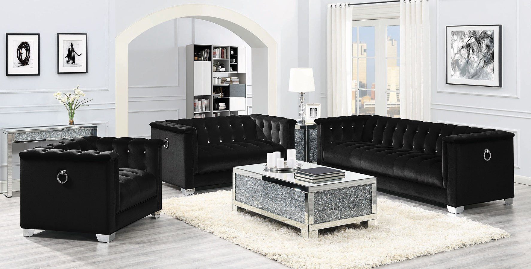 Chaviano Living Room Set (Black)
