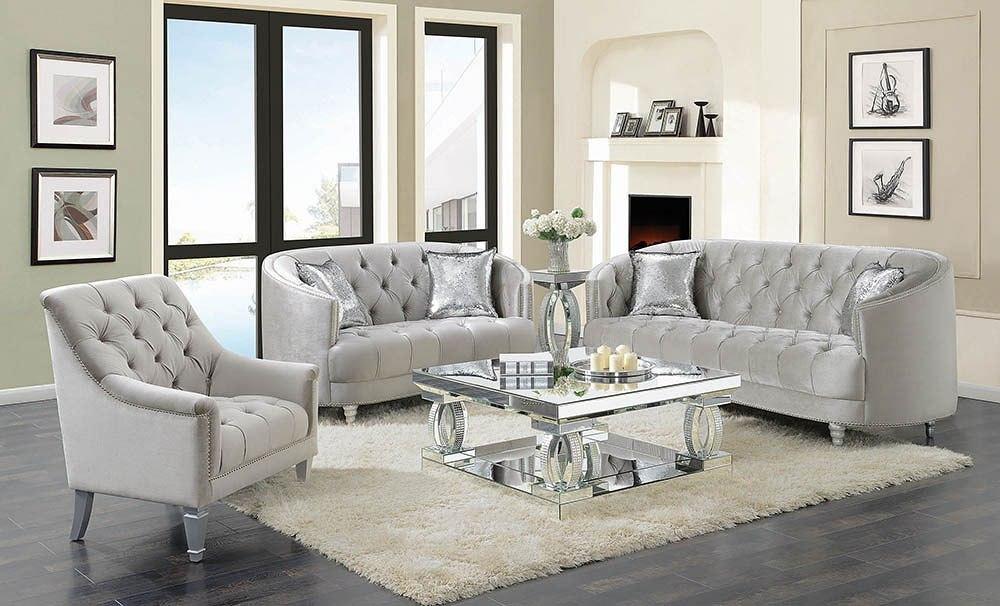 Avonlea Living Room Set (Grey Velvet) by Coaster Furniture   FurniturePick