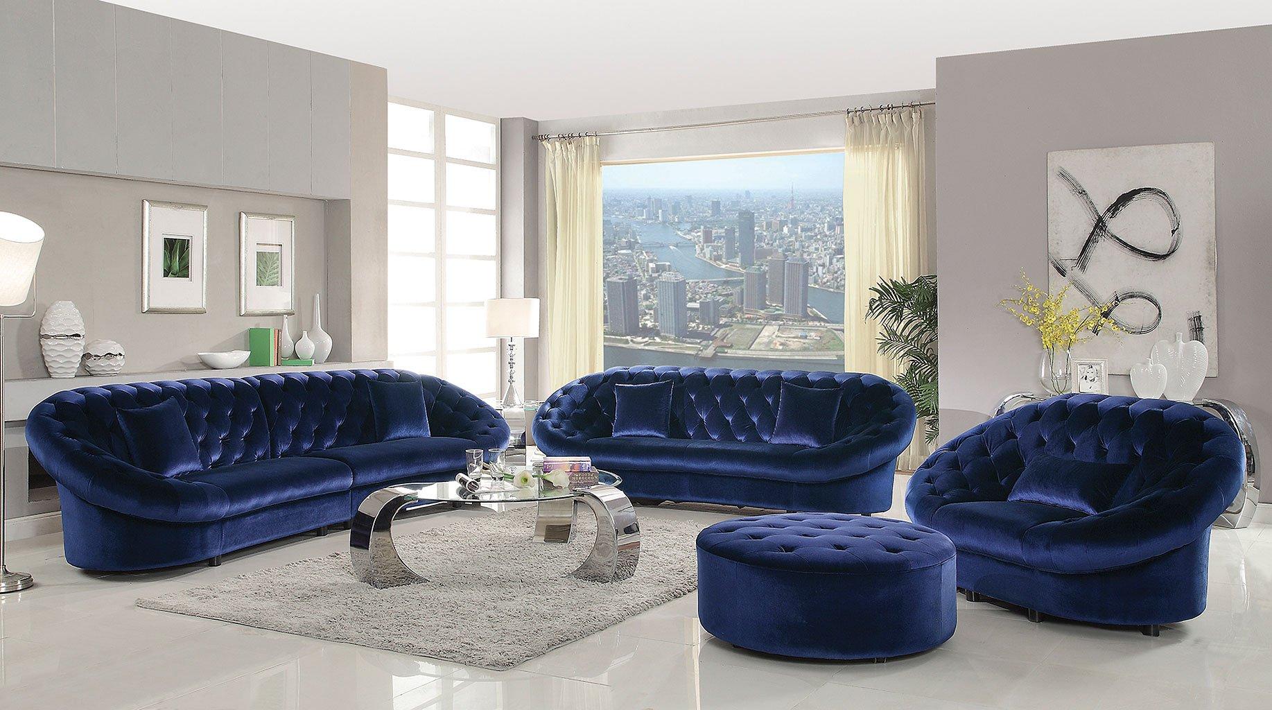 Romanus Living Room Set Royal Blue By Coaster Furniture Furniturepick