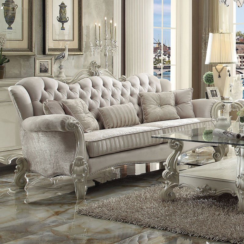 Versailles Living Room Set Ivory Velvet By Acme Furniture Furniturepick