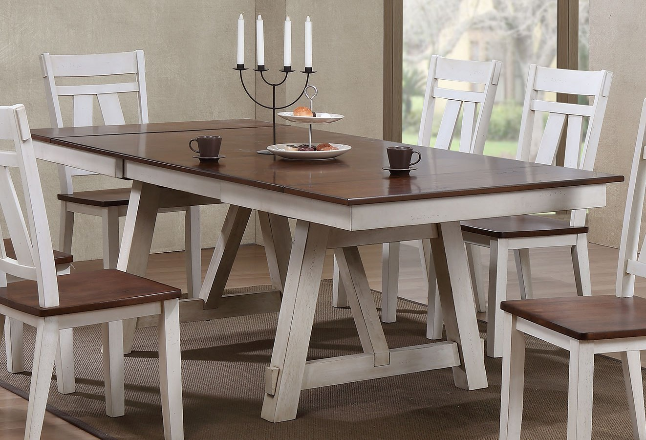 Winslow Rectangular Dining Table Off White Rustic Cherry By Bernards Furniturepick