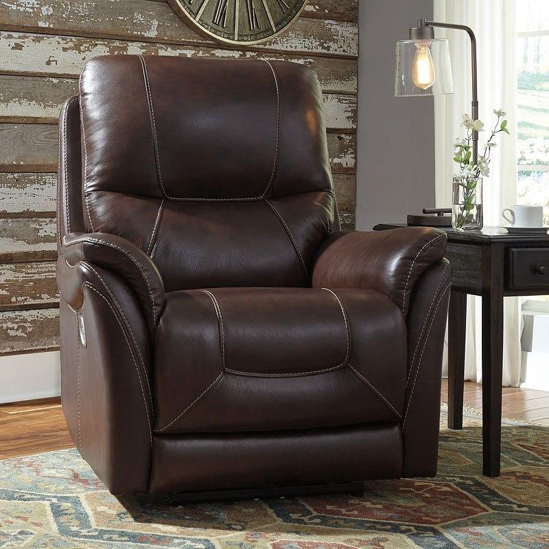 Stolpen Walnut Power Recliner W Adjustable Headrest By Signature Design By Ashley Furniturepick