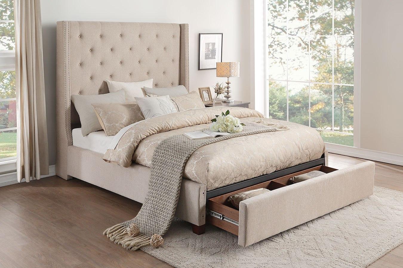 Fairborn Beige Upholstered Storage Bed By Homelegance Furniturepick