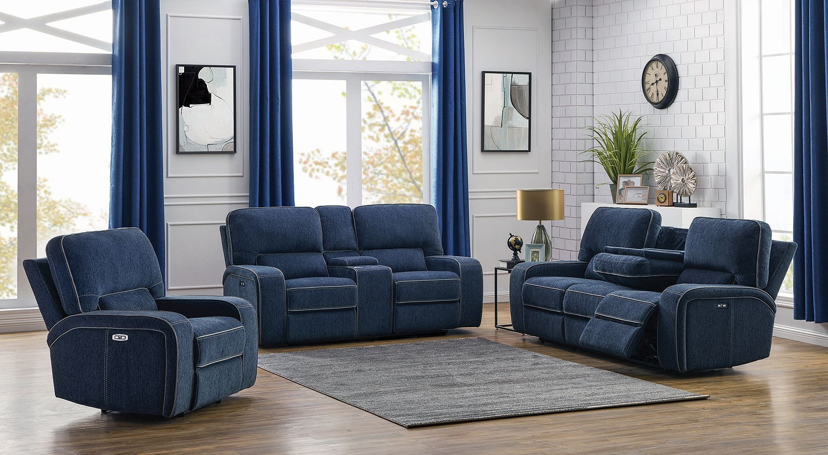 Image of: Groveland Power Reclining Living Room Set W Power Headrests Navy Blue By Coaster Furniture Furniturepick