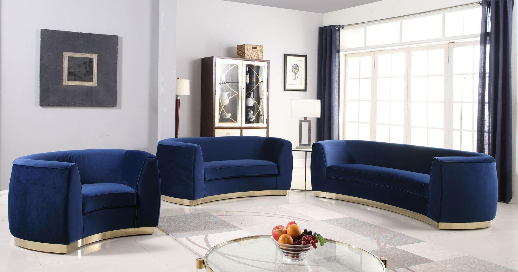 Julian Living Room Set Navy Gold By Meridian Furniture Furniturepick