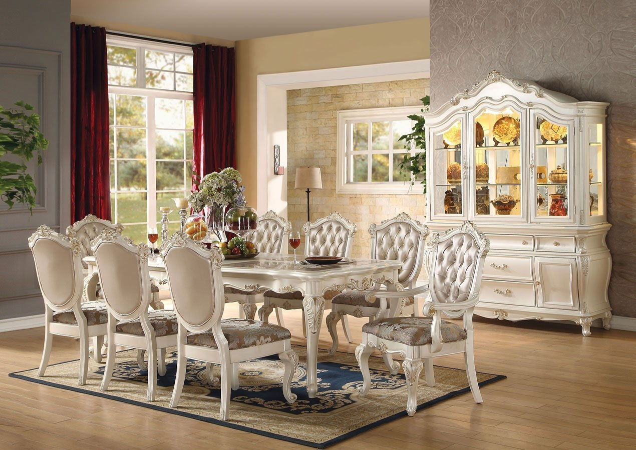 Chantelle Dining Room Set Pearl White By Acme Furniture Furniturepick