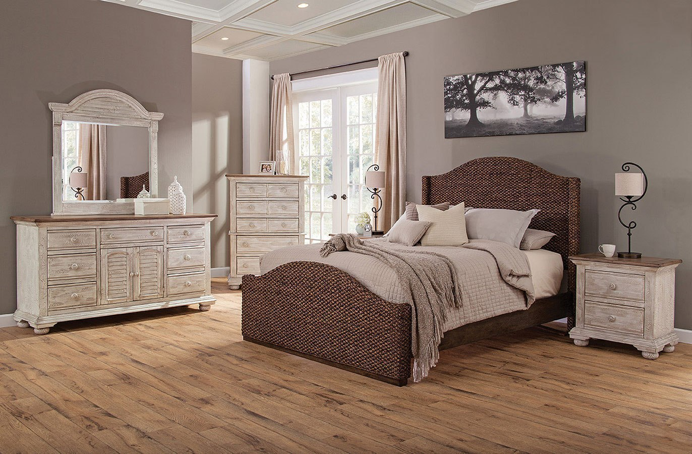 Cottage Traditions Crackled White Bedroom Set W Seaside Dark Bed By American Woodcrafters Furniturepick