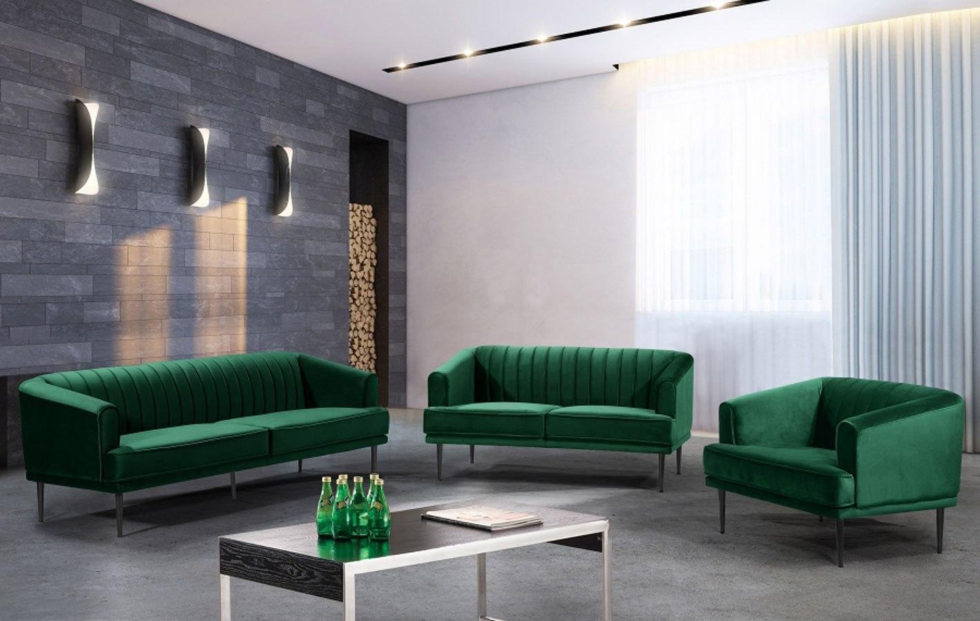 Rory Velvet Living Room Set (Green)