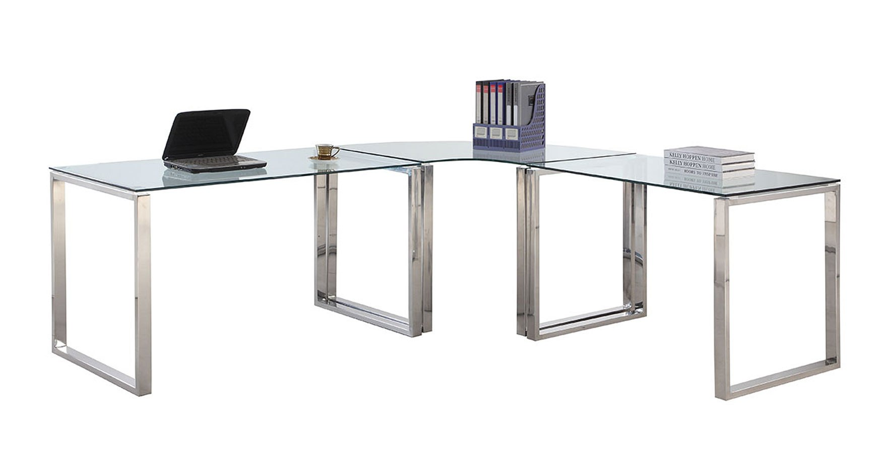 Clear Glass And Stainless Steel Corner Office Desk By Chintaly Imports Furniturepick