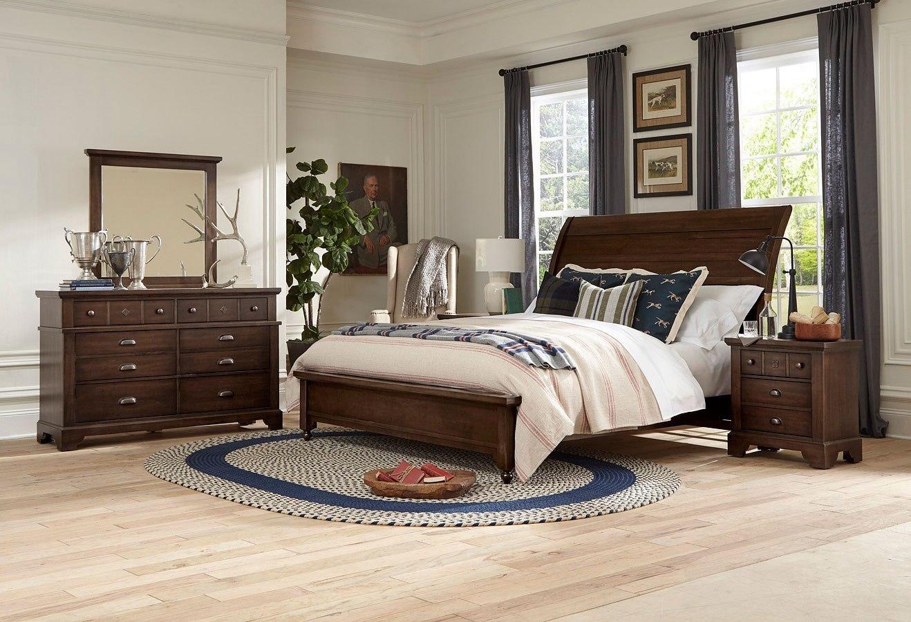 Laurel Rogers Sleigh Bedroom Set Tobacco By Vaughan Bassett Furniturepick