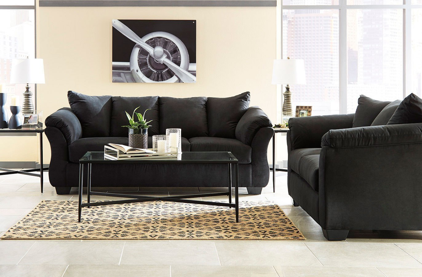 Darcy Black Living Room Set by Signature Design by Ashley, 1