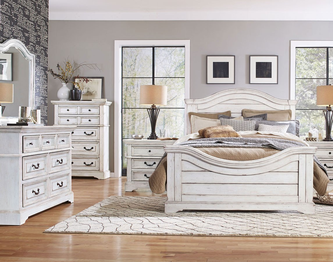 Stonebrook Panel Bedroom Set Antique White By American Woodcrafters Furniturepick