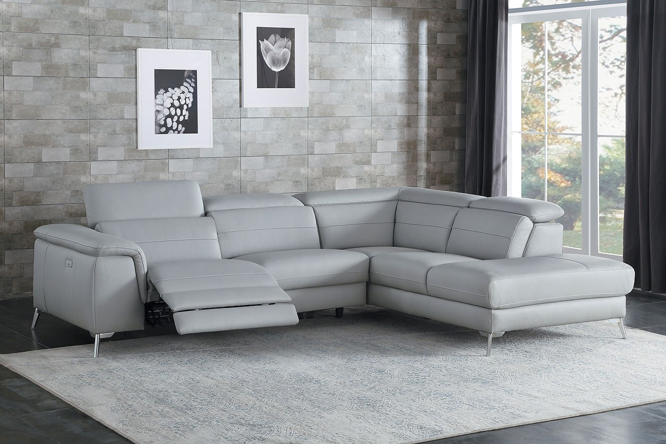 Cinque 2-Piece Leather Sectional w/ Power Recliner (Light Gray) by Homelegance | FurniturePick