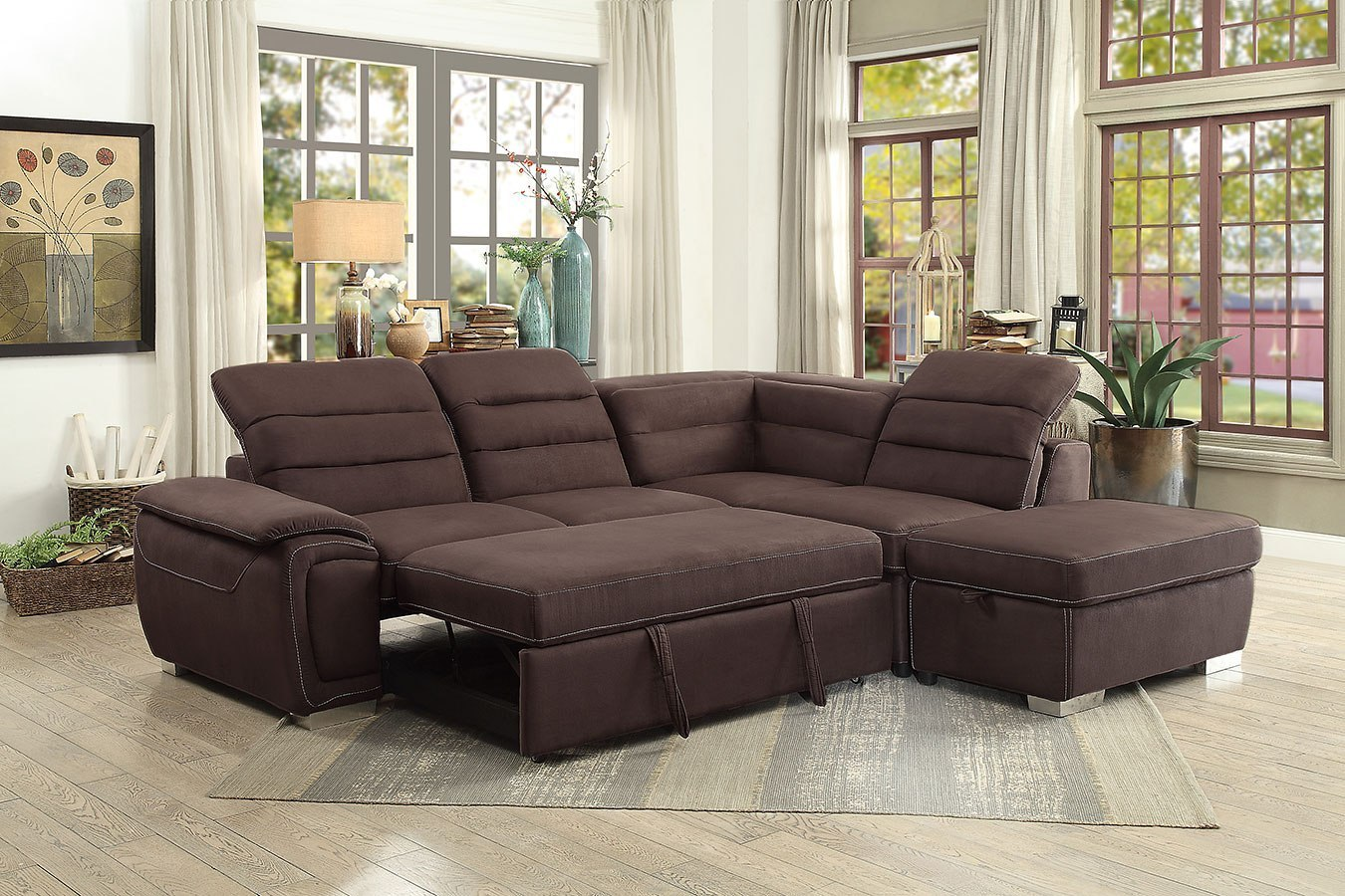 Platina Sectional w/ Pull out Bed and Storage Ottoman by ...