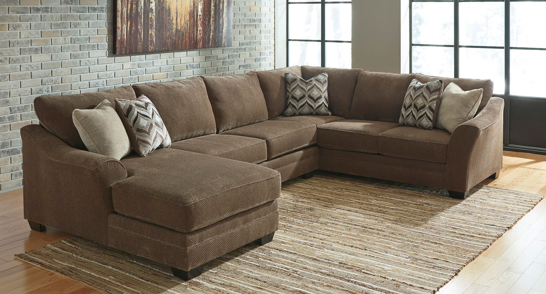 Justyna Teak Left Chaise Sectional By Signature Design By Ashley Furniturepick