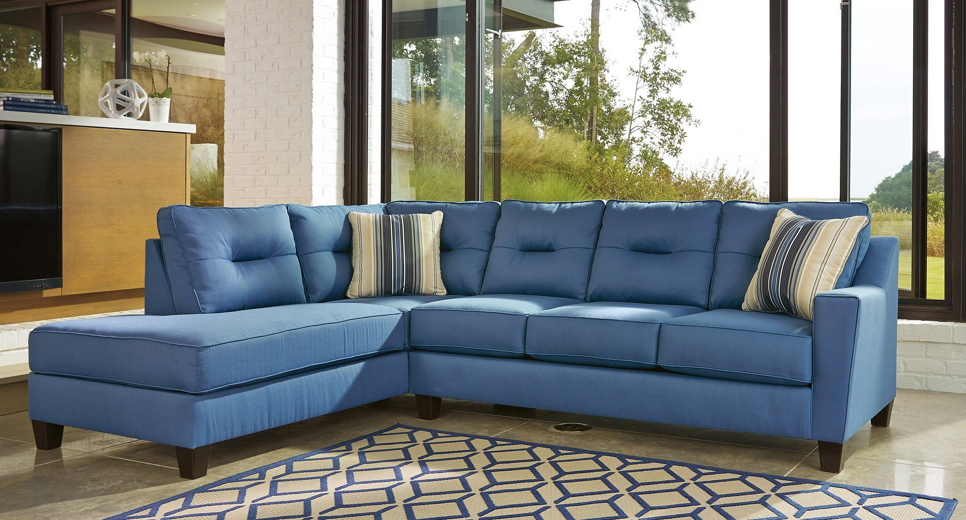 Kirwin Nuvella Blue Left Chaise Sectional by Benchcraft ...