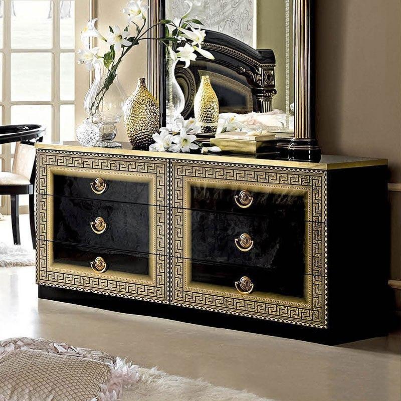 Aida Double Dresser Black And Gold By Esf Furniture Furniturepick
