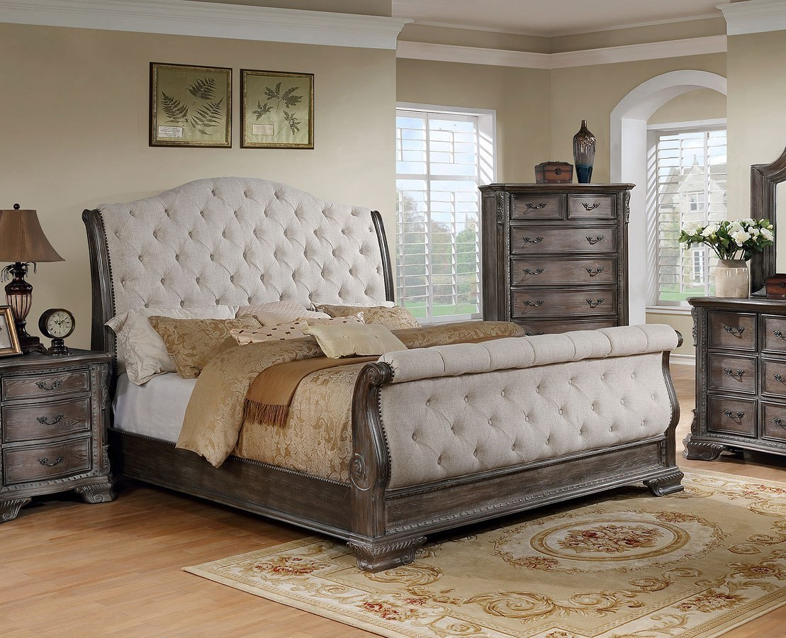 Sheffield Upholstered Sleigh Bedroom Set Antique Grey Crown Mark Furniture Furniturepick