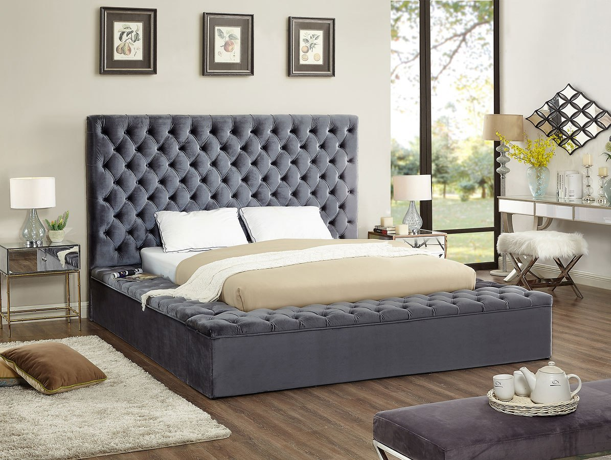 Bliss Upholstered Platform Storage Bed Grey By Meridian Furniture Furniturepick