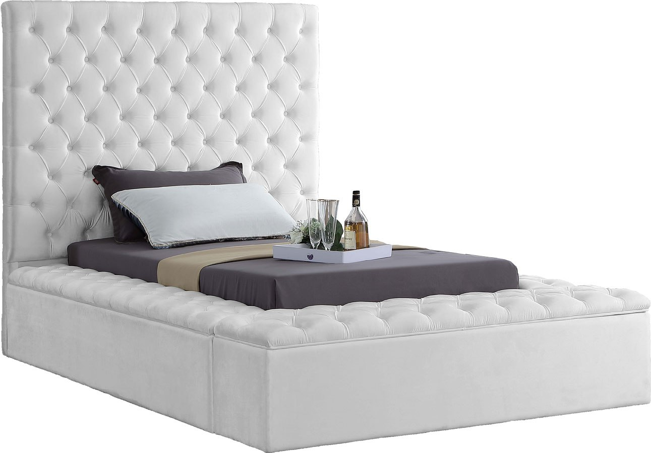 Bliss Youth Upholstered Storage Bed White By Meridian Furniture Furniturepick