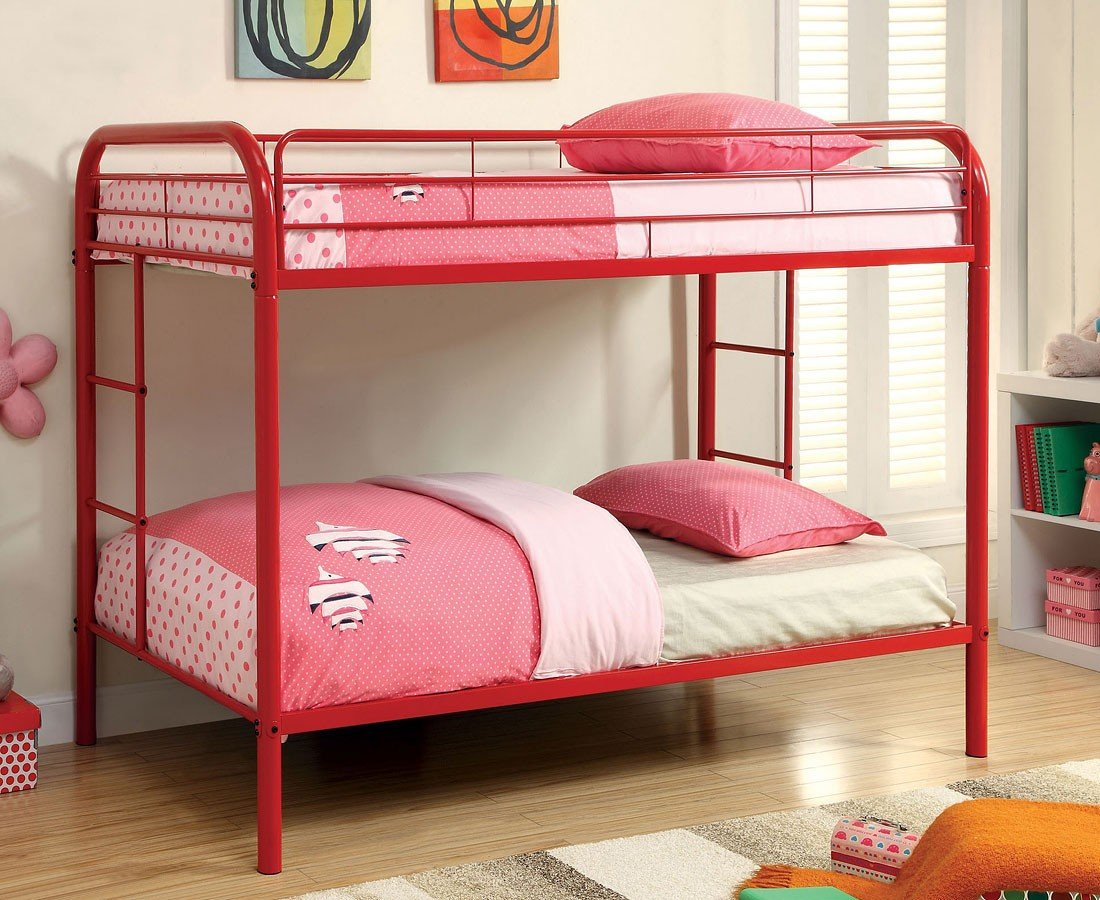 Picture of: Rainbow Twin Over Twin Bunk Bed Red By Furniture Of America Furniturepick