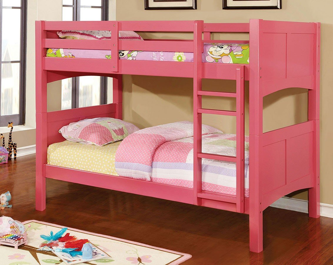 Picture of: Prismo Ii Twin Over Twin Bunk Bed Pink By Furniture Of America Furniturepick