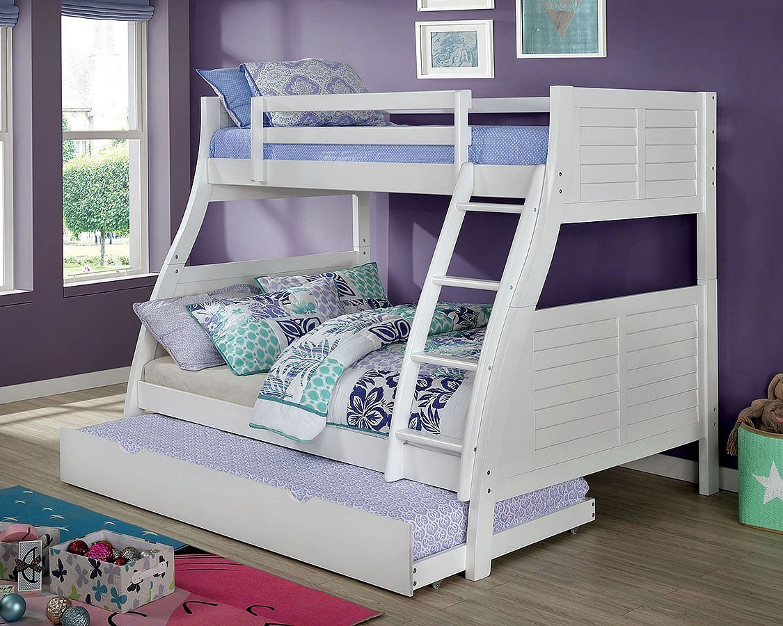 Hoople Twin Over Full Bunk Bed W Trundle White By Furniture Of America Furniturepick