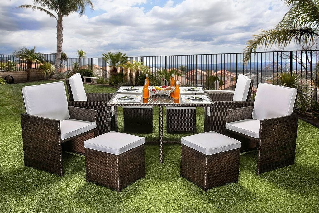 Keisha 9 Piece Patio Dining Set By Furniture Of America Furniturepick