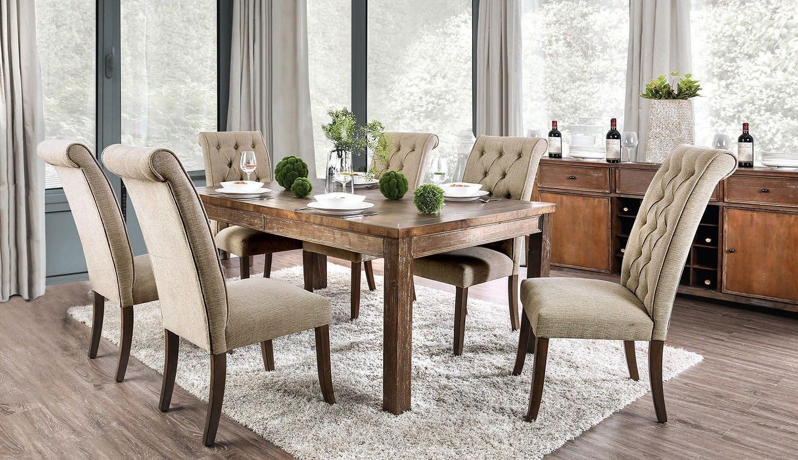 Picture of: Sania I Dining Room Set Rustic Oak By Furniture Of America Furniturepick